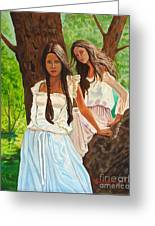 Girls In The Woods Greeting Card by Kostas Dendrinos