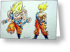 Goku In Action Greeting Card by Tanmay Singh