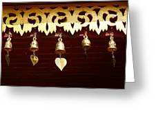Golden Bells In Buddhist Place Of Worship In Chiang Mai Thailan Greeting Card