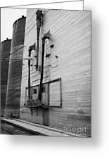 grain elevator doors and filling pipe leader Saskatchewan Canada Greeting Card