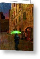 Green Umbrella Greeting Card by Patrick J Osborne