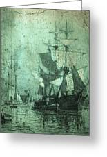 Grungy Historic Seaport Schooner Greeting Card