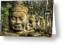 Guardians Of Angkor Thom Greeting Card