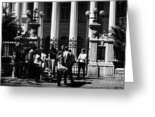 guided tour group outside the former national congress building Santiago Chile Greeting Card