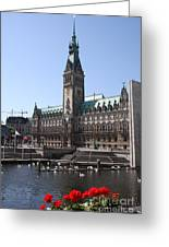 Hamburg - City Hall With Fleet - Germany Greeting Card