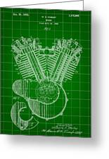 Harley Davidson Engine Patent 1919 - Green Greeting Card