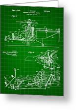 Helicopter Patent 1940 - Green Greeting Card