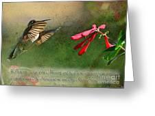 Hummingbird Morning With Verse Greeting Card