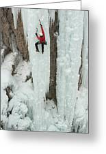 Ice Climber Ascending At Ouray Ice Greeting Card