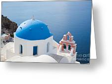 Iconic Blue Domed Churches In Oia Santorini Greece Greeting Card