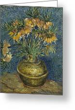 Imperial Fritillaries In A Copper Vase Greeting Card
