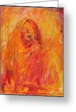Janis Joplin On Fire Greeting Card