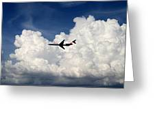 Jetliner And Clouds Greeting Card