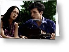 Joan Baez With Bob Dylan Greeting Card