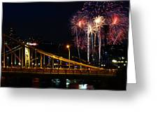 July 4th Fireworks In Pittsburgh Greeting Card by Jetson Nguyen