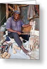 Kenya. December 10th. A Man Carving Figures In Wood. Greeting Card