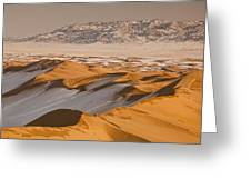 Khongor Sand Dunes In Winter Gobi Desert Greeting Card