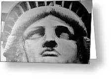 Lady Liberty In Black And White Greeting Card