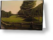 Landscape Of Duxbury Golf Course - Image Of Original Oil Painting Greeting Card