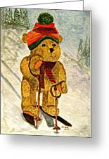 Learning To Ski Greeting Card