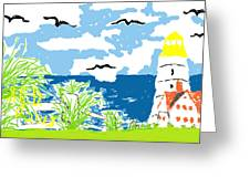 Lighthouse By The Sea Greeting Card by Joe Dillon