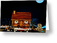 Log Cabin Scene With The Classic 1959 Dodge Royle Convertible In Color Greeting Card