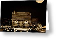 Log Cabin Scene With The Classic Old Vintage 1959  Dodge Royal Convertible At Midnight In Sepia  Greeting Card by Leslie Crotty