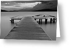 Long Exposure On Wooden Pier At Dawn Greeting Card