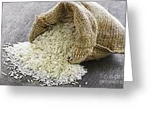 Long Grain Rice In Burlap Sack Greeting Card