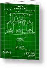 Louis Pasteur Beer Brewing Patent 1873 - Green Greeting Card