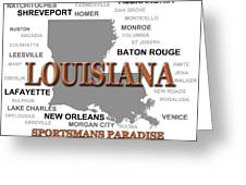 Louisiana State Pride Map Silhouette  Greeting Card