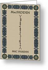 Macfadden Written In Ogham Greeting Card