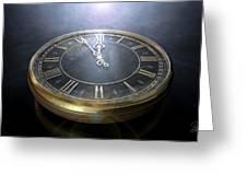 Macro Antique Watch Midnight Greeting Card