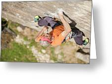 Man Climbing Re Azul, An Historic 7b Greeting Card