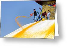 Man Throwing Orange Paint On Boudhanath Stupa Greeting Card