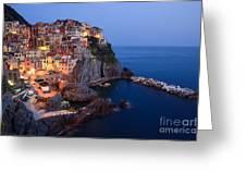 Manarola At Night In The Cinque Terre Italy Greeting Card