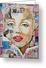 Marilyn In Pink And Blue Greeting Card