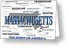 Massachusetts State Pride Map Silhouette  Greeting Card