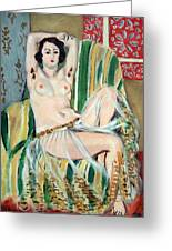 Matisse's Odalisque Seated With Arms Raised In Green Striped Chair Greeting Card