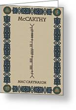 Mccarthy Written In Ogham Greeting Card