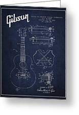 Mccarty Gibson Stringed Instrument Patent Drawing From 1969 - Navy Blue Greeting Card