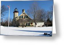 Mcgulpin Point Lighthouse In Winter Greeting Card