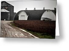 Michigan Barn With Grain Bins Rainy Day Usa Greeting Card