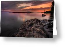 2 Mile Point Sunset And Moonrise Greeting Card