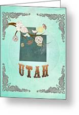 Modern Vintage Utah State Map  Greeting Card
