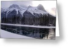 Mountain Sunset Christmas Canmore, Alberta Greeting Card