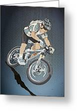 Mountainbike Sports Action Grunge Color Greeting Card