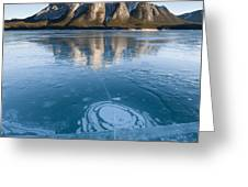 Mt. Michener And Ice On Abraham Lake Greeting Card