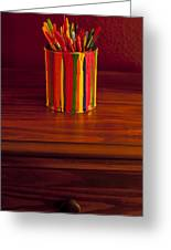 Multi Colored Paint Brushes Greeting Card