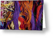 Multicolored Embroidery Thread Mixed Up  Greeting Card